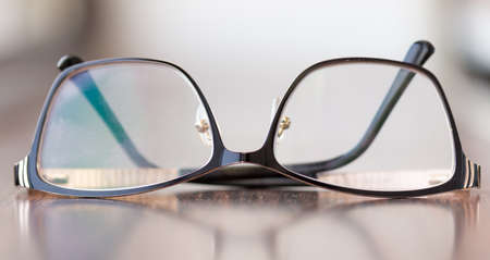 Brown glasses close-up. Glasses in a modern style. Glasses with clear lenses. fashionable accessories