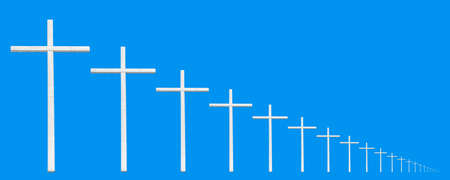 endless christian cross on a blue background