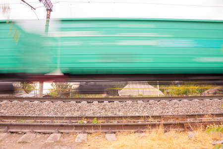 railway, freight train on blurry focus