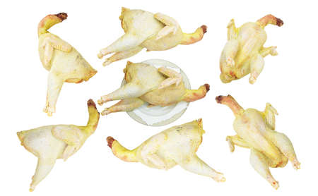 a lot of fresh raw chicken isolated on white
