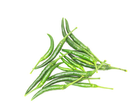 Fresh green chili peppers. Isolated on a white background.