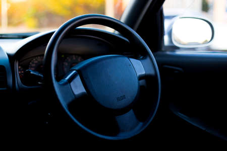 Inside view of a car with a blue interior