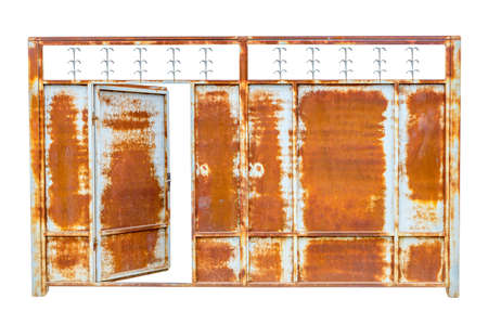 Old rusty gate. Isolated over white background.