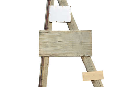 wooden post and blackboard on a white background, empty board for text. 版權商用圖片