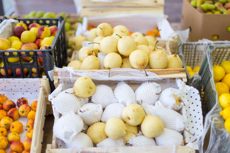 different fruits in the supermarket 스톡 콘텐츠