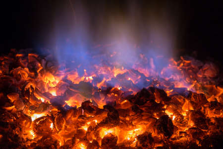 Texture embers closeup. Embers after a fire. 스톡 콘텐츠