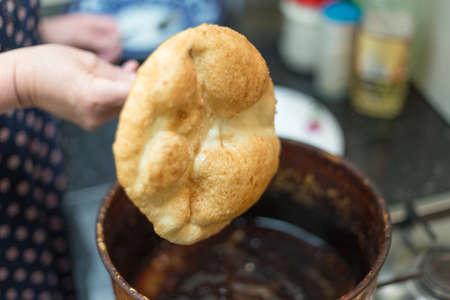 Traditional mongolian food of Baursak.