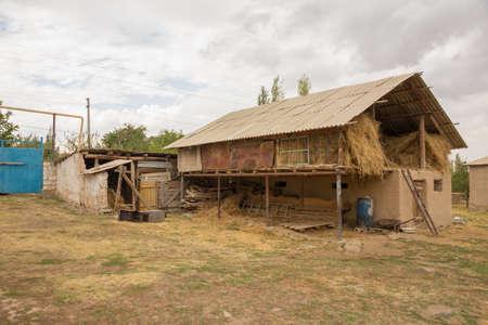 old winter barn for livestock street view