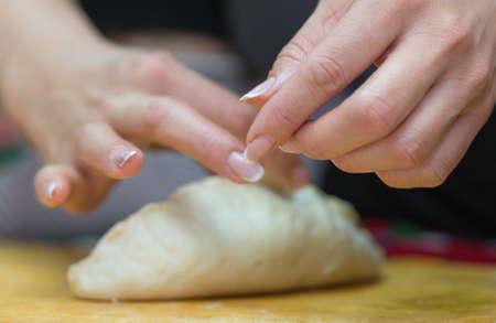 woman prepares soft, juicy korean manti Reklamní fotografie