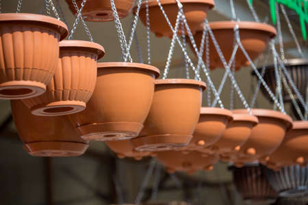 brown ceramic flower pots for home 스톡 콘텐츠 - 136251795