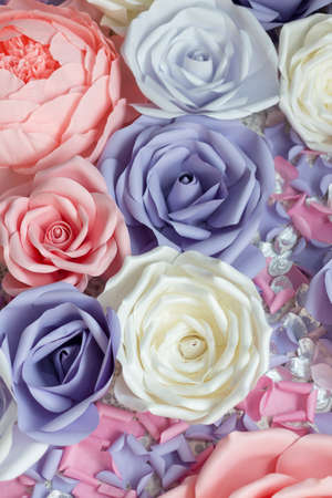 Floral background texture for a wedding scene. Roses, peonies and hydrangeas, artificial flowers on the wall. Banner fow site. 스톡 콘텐츠 - 136251856