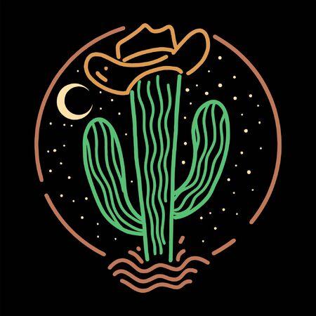cow boy cactus line art design