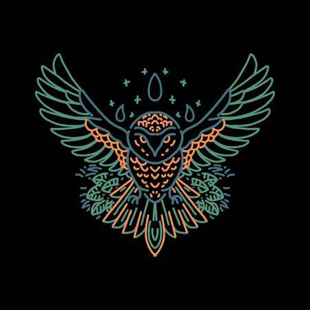 owl line art vector design