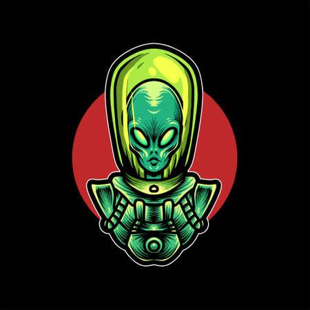 alien vector illustration design for merchandise Ilustração