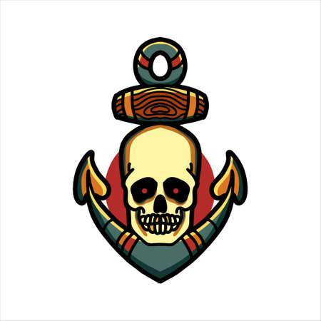 skull anchor tattoo vector design Vektorgrafik