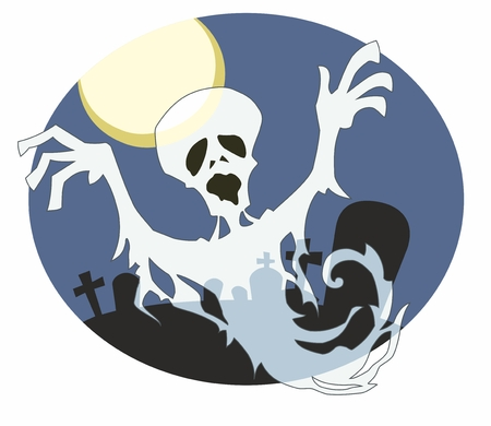 semitransparent: Semi-transparent ghost appears from circular cartoon graveyard background with moon.