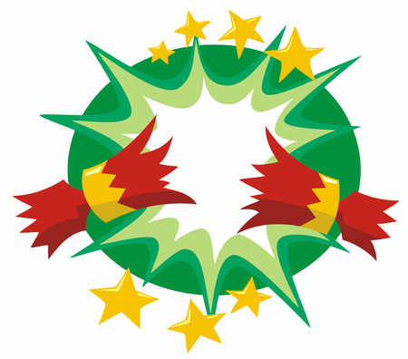 Red and gold Christmas cracker pulled open with a cartoon flash and gold stars over a green oval background stylised cartoon vector illustration.
