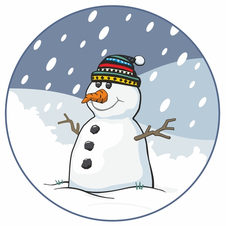 bobble: Snowman with bobble hat and carrot nose in circular snow scene, cartoon vector illustration