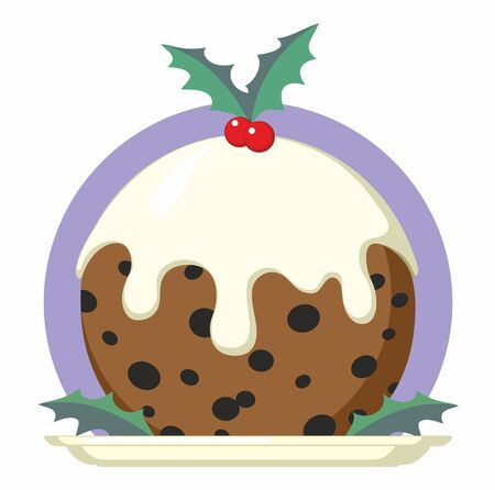 Christmas Pudding on plate with holly - vector cartoon illustration  イラスト・ベクター素材
