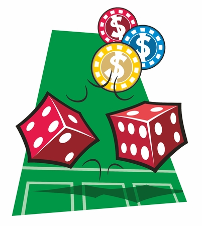 Two red dice and three casino chips tumble over a stylized representation of a craps table in a cartoon vector illustration. Illustration