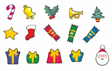 Set of Christmas cartoon icons including crackers, presents, trumpet, tree, bell, star and santa. Illustration