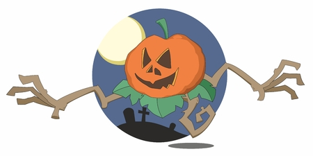 reaches: Halloween pumpkin monster reaches out with twisted root arms from circular cartoon graveyard background with moon
