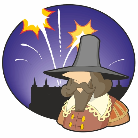 Cartoon head and shoulders of Guy Fawkes with old style parliament building in silhouette and several fireworks over a dark purple circular night sky background.