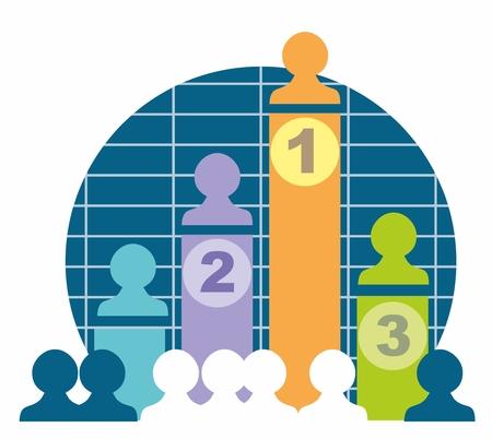 sales team: Individual sales team results graph stylised vector illustration Illustration