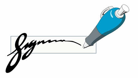 Blue ballpoint pen writing a stylized signature isolated clipart illustration.  イラスト・ベクター素材