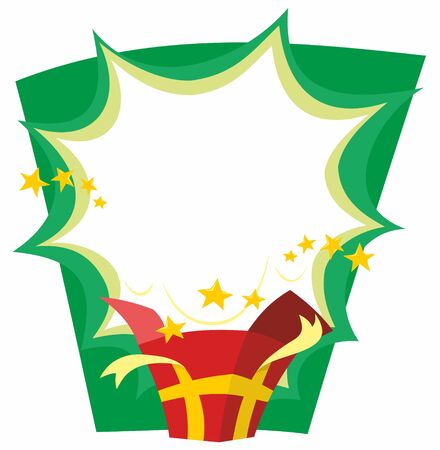Red and gold Christmas present opens with a cartoon flash and gold stars over a green background stylised cartoon vector illustration. Ilustração