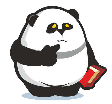 Rotund panda holding red book and looking puzzled cartoon vector illustration isolated on white.