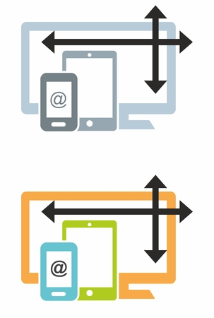 queries: Icon symbol for screen widths in responsive or adaptive web design with desktop, tablet and mobile icons featuring media queries. Two colourways provided.