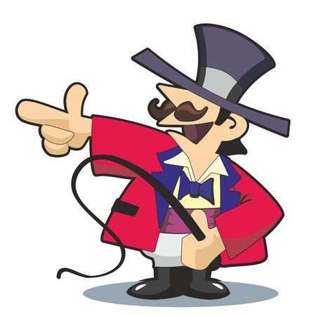 Traditional circus ringmaster in red jacket and top hat with whip, pointing to left in vector cartoon illustration.