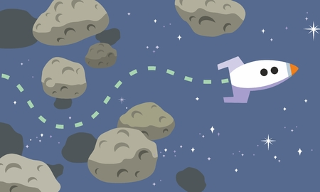 Space rocket finds a path through dangerous asteroid belt in stylized vector cartoon illustration Illustration