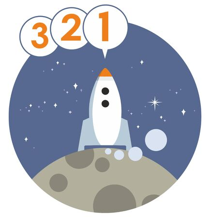 Space rocket on planet surface countdown to launch stylised vector illustration