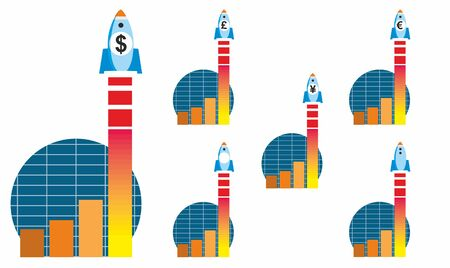 Sales graph with space rocket labelled with currency symbol lifting off in stylised vector illustration. Dollar, pound, euro and Yen variants provided.