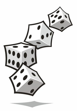 Four white dice tumbling in an arc  in isolated stylized cartoon vector illustration