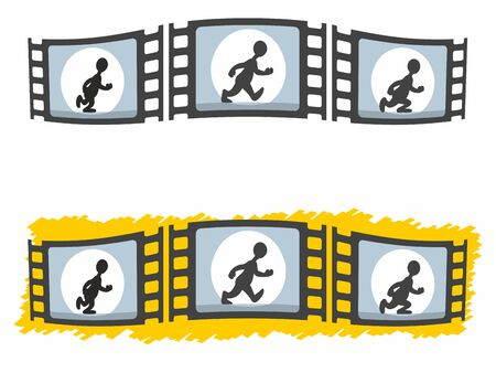 Styised vector illustration of three individual frames of walking man animation in two variants.