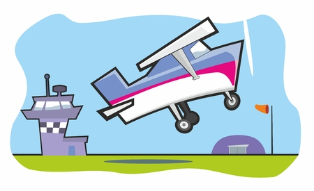 airfield: Light aircraft taking off from small airfield cartoon vector illustration Illustration