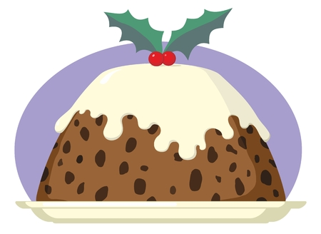 Christmas Pudding on Plate with Brandy Cream and Holly Cartoon Illustration