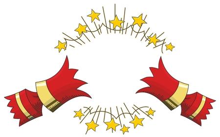 Roter Weihnachtscracker mit Goldstern-Linienillustration geöffnet