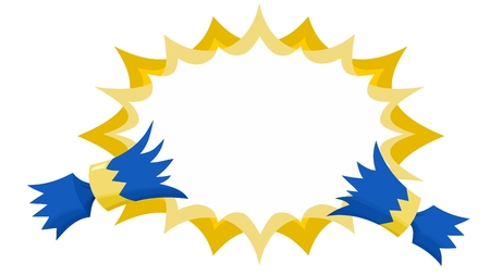 Christmas Cracker Pulled with Flat Starburst No Outline in Blue and Gold Illustration