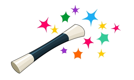 Cartoon of magic wand and stars isolated against white background
