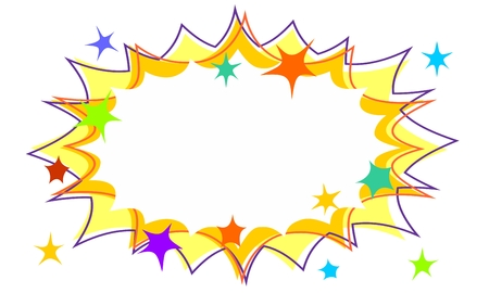 Childrens Party Starburst Flash Background with Stars and Offset Outlines