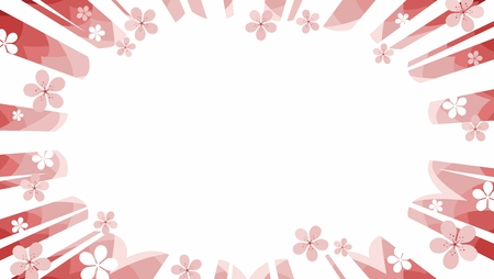 cherry blossom pink starburst flash promotional background graphic vector with manga rays scattered with flowers
