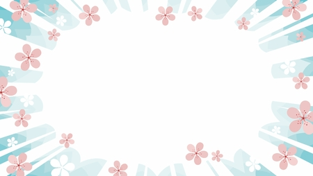 sakura cherry blossom in pink and white over pastel sky starburst flash sale background vector graphic with manga rays
