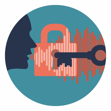 voice id vector symbol profile head speaking password with lock key and audio wave in circle. system security logo in dark version Illustration