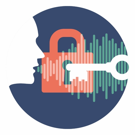 voice id vector symbol profile head speaking password with lock key and soundwave in circle. system security logo in light version