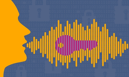 voice ID technology illustration vector of head profile speaking password with magenta key in sound wave. voice activated biometric security in blue orange and purple