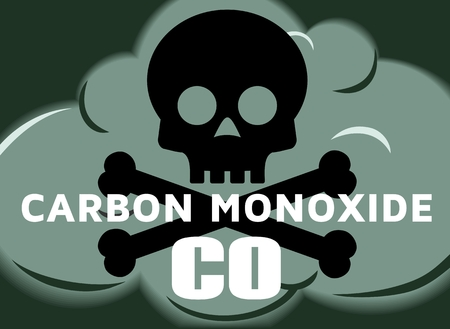 CO Carbon Monoxide poisonous gas stylized vector illustration cloud of green smoke cloud with black skull and white text
